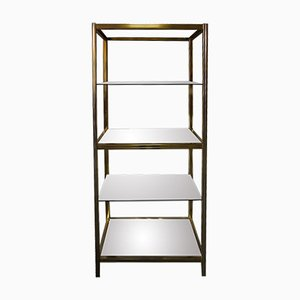 Vintage Italian Brass Shelving Unit, 1970s