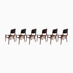 Mid-Century Teak & Black Leatherette Dining Chairs, Set of 6
