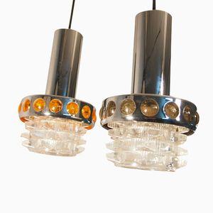 Vintage Space Age Chromed Pendant Lights from Raak, Set of 2