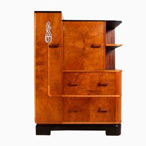 Art Deco Long Walnut Cabinet, 1930s