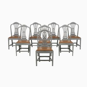 19th Century Chairs with Leather Seats, Set of 8
