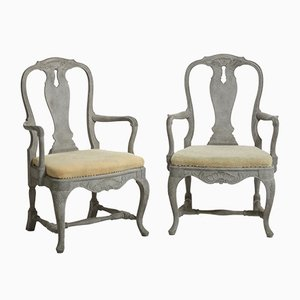 Antike Schwedische Armlehnstühle im Rokoko Stil, 2er Set