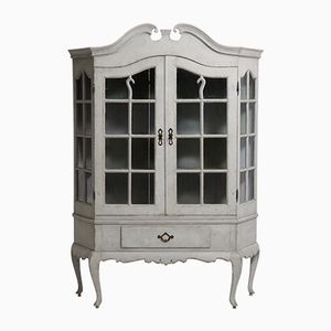 Scandinavian Rococo Style Two-Part Vitrine Cabinet, 1830s