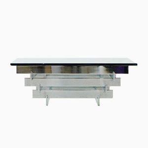 Vintage Glass & Chrome Coffee Table by Zaruch