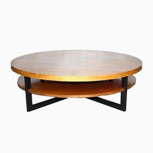 Round Rosewood, Teak & Metal Coffee Table, 1960s