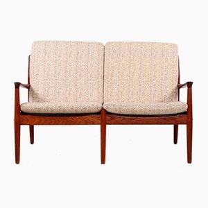 Sofa mit Hellem Wollbezug von Grete Jalk für Glostrup, 1960er