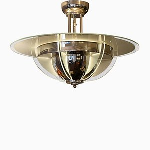 French Art Deco Nickel-Plated Chandelier, 1930s