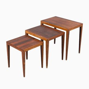 Danish Rosewood Nesting Tables by Severin Hansen for Haslev Mobelsnedkeri, 1960s, Set of 3