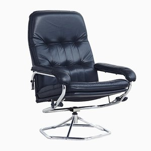 Swivel Lounge Chair in Black Leather, 1970s