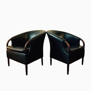 Danish Armchair in Black Leather, 1970s
