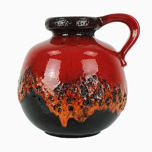Black-Red Fat Lava Vase from Scheurich, 1960s