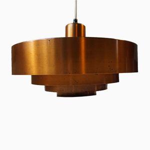 Roulet Copper Pendant Lamp by Jo Hammerborg for Fog & Morup Denmark, 1960s