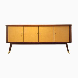 Belgian XL Sideboard Mod. 1425 in Bicolored Glossy Wood from De Coene, 1950s