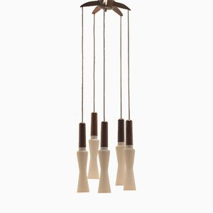 Italian Teak Pendant with 5 Opaline Glass Shades
