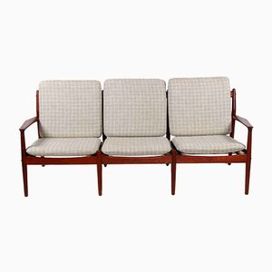 Green Wool & Teak 3-Seater Sofa by Grete Jalk for Glostup, 1960s