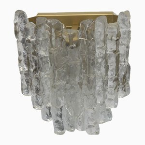3-Light Ice Glass Wall Lamp by J.T. Kalmar for Franken KG