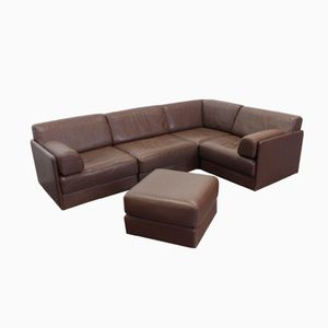 DS 76 Brown Leather Modular Sofa with Ottoman from de Sede, 1970s