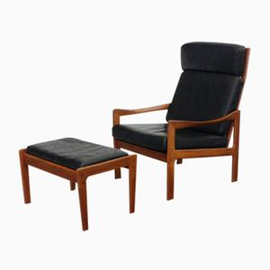 Vintage Teak & Black Leather Chair and Ottoman by Illum Wikkelsoe for Niels Eilersen