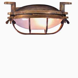 Vintage Bronze und Holophane Glas Lampe