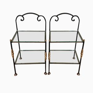 Vintage Wrought Iron and Glass Side Tables, Set of 2