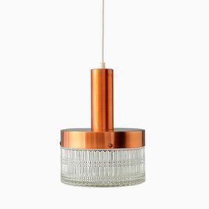 Dänische Vintage Lampe aus Kupfer & Kristall