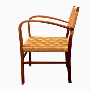 Danish Stained Oak and Seagrass Armchair by Magnus Stephensen for Fritz Hansen, 1930s