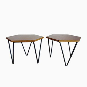 Oak Side Tables by Gio Ponti for ISA, 1950s, Set of 2