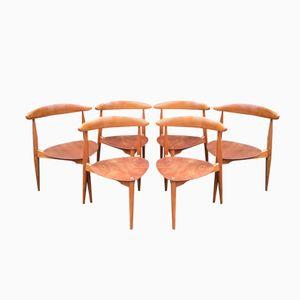 Modell FH4103 Heart Esszimmerstühle von Hans Wegner für Fritz Hansen and Raymor, 1950er, 6er Set