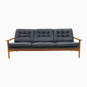 Danish Modern Teak and Leather Sofa, 1960s