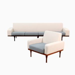 Danish Four-Seater Sofa and Lounge Chair Set by Illum Wikkelsø for Eilersen, 1960s