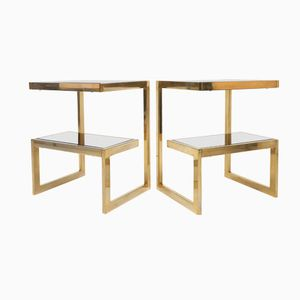 Brass G Side Tables from Belgochrom, 1970s, Set of 2