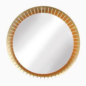 Vintage Round Brass Back-Lit Mirror