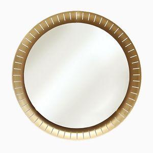 Vintage Large Round Brass Back-Lit Mirror