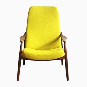 Easy Chair en Teck à Haut Dossier par Hartmut Lohmeyer pour Wilkhahn