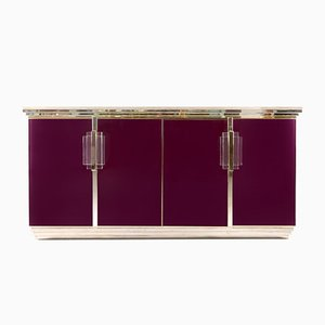 Purple and Brass Credenza from Maison Jansen, 1970s