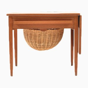 Mid-Century Danish Extendable Teak Sewing Table
