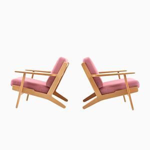 Mid-Century GE-290 Oak Easy Chairs by Hans J. Wegner for Getama, Set of 2