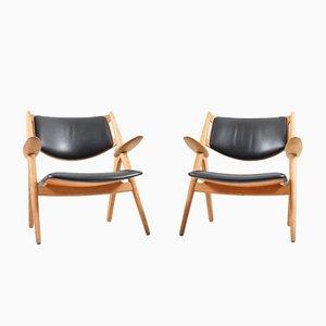 Saw Horse Chairs CH-28 par Hans J. Wegner pour Carl Hansen & Son, Set de 2