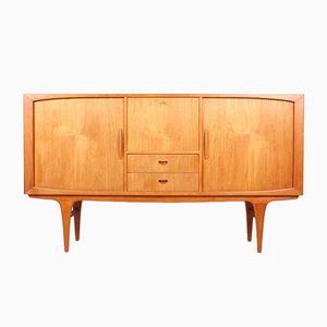 Teak Sideboard with Tambour Doors & Bar Cabinet, 1960s