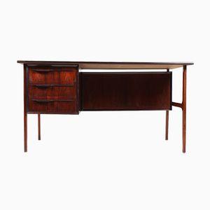 Danish Rosewood Desk with Drop-Door Cabinet, 1960s