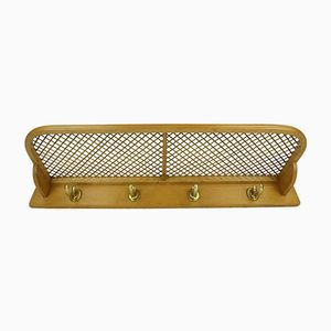 Beech & Brass Wall Coat Rack, 1950s