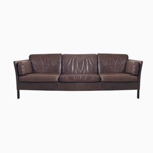 Mid-Century Danish Brown Leather 3-Seater Sofa