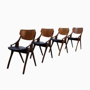 Vintage Danish Dining Chairs by Arne Hovmand Olsen for Mogens Kold, Set of 4