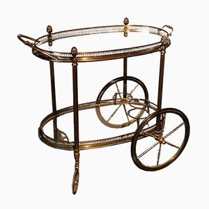 Brass and Glass Tray Bar Cart from Maison Jansen, 1970s