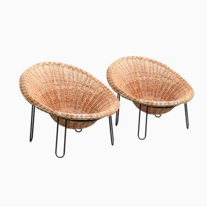 Rattan Basket Chairs, 1960s, Set of 2