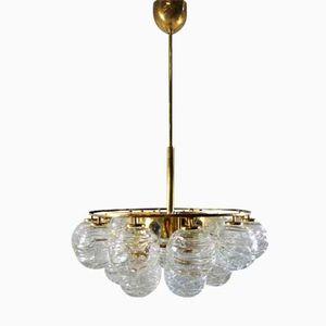 Messing & Glas Hängelampe von Doria Lichtenwerken, 1960er