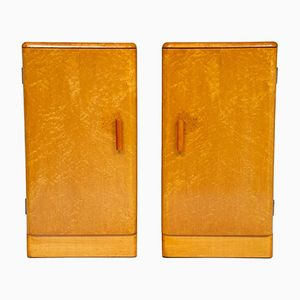 Art Deco Maple Bedside Cabinets, 1930s, Set of 2