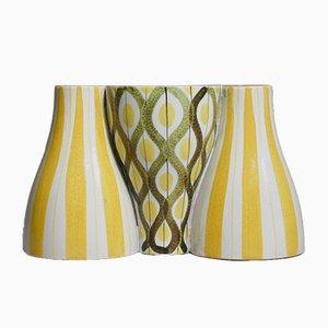 Vases Snurran Vintage et Bougeoir par Stig Lindberg pour Gustavsberg