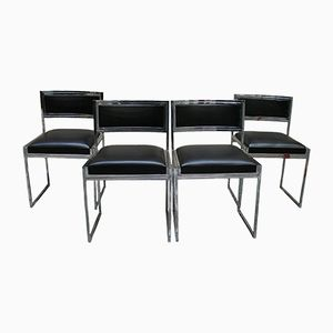 Vintage Chromed Steel Chairs by Willy Rizzo, 1970s, Set of 4
