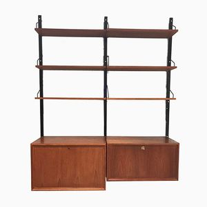 Vintage Wall Unit with Two Cabinets by Poul Cadovius for Royal System